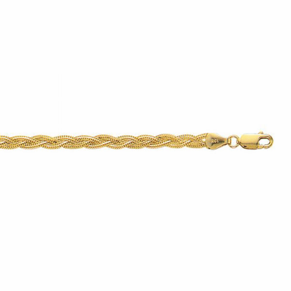 "14kt 7"" Yellow Gold 3.5mm Diamond Cut Braided Fox Bracelet"