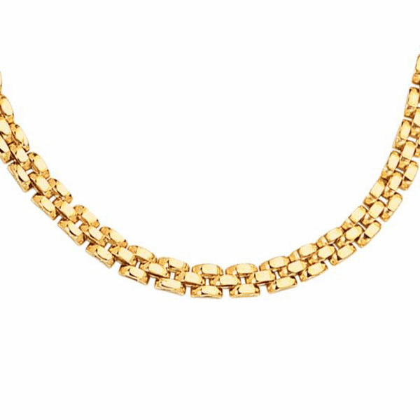 "14kt 7"" Yellow Gold 4.0mm Shiny 3 Row Panther Bracelet Link Bracelet"