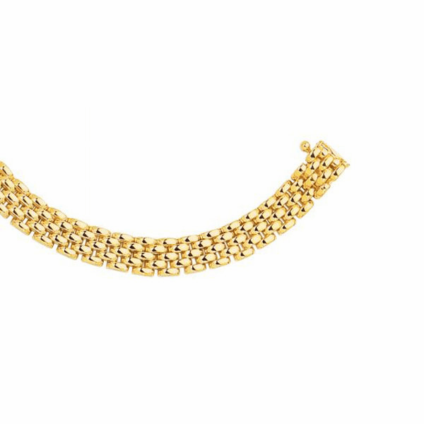 "14kt 7"" Yellow Gold 6.5mm Shiny 5 Row Panther Bracelet Link Bracelet"