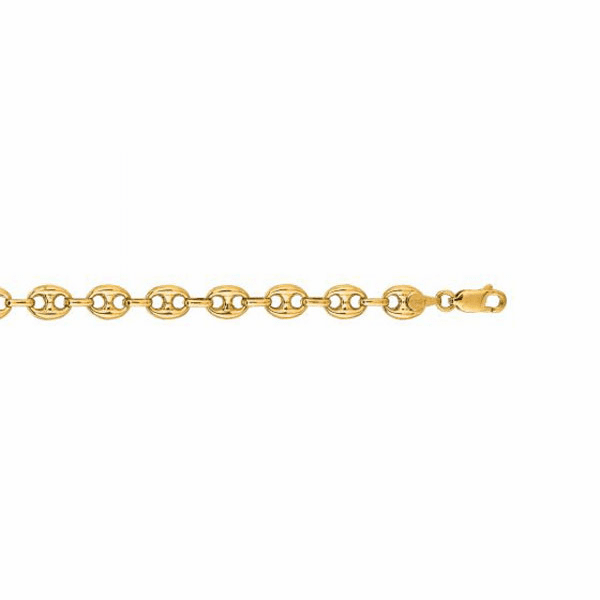 "14kt 7"" Yellow Gold 6.9mm Diamond Cut Puffeded Mariner Bracelet"