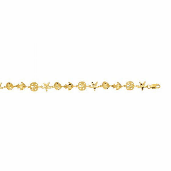 "14kt 7"" Yellow Gold Shiny Bracelet/Fish/Shell/Starfish/Sand Dollar"