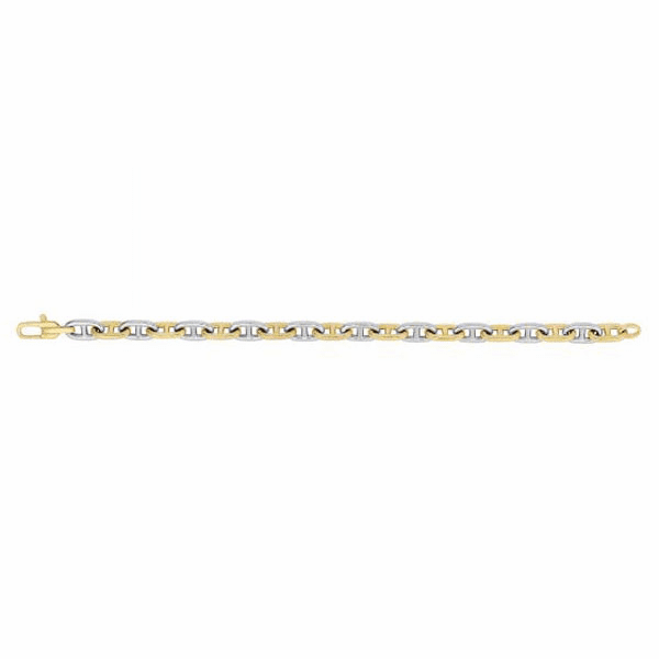 "14kt 8.5"" Gold 7.6mm Shiny White & Yellow Marine Link Fancy Bracelet"