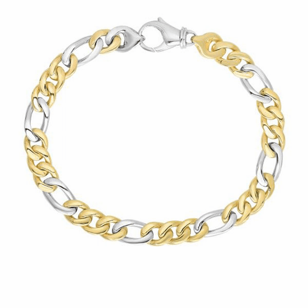 "14kt 8.5"" Yellow & White Gold 6mm Soft Faceted & Figaro Style Bracelet"