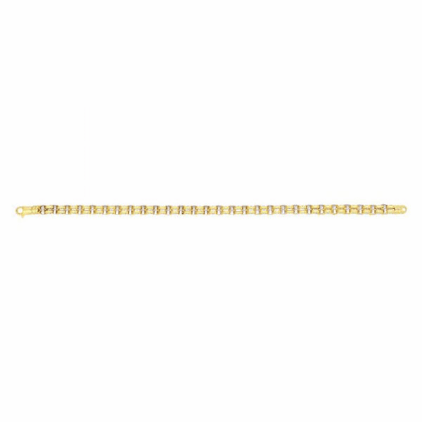 "14kt 8.5"" Yellow/White Gold Double Oval Link Square Grid Mens Bracelet"