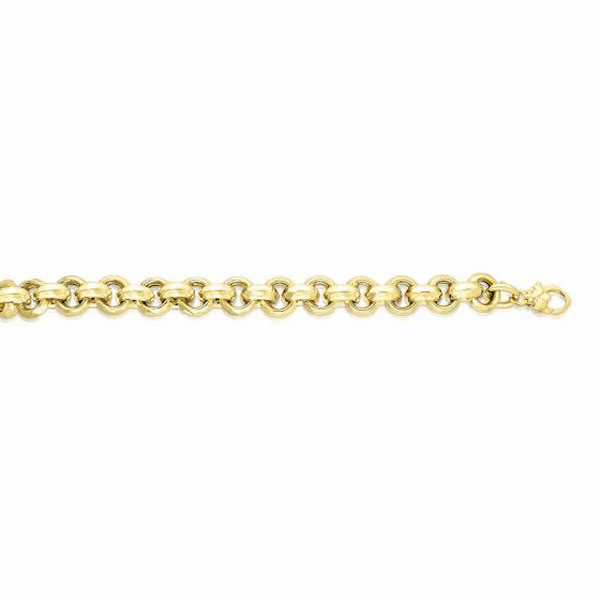 "14kt 8"" Yellow Gold Shiny Diamond Cut 9.75mm Round Rolo Type Bracelet"