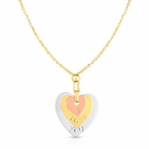 """14kt Gold 17"""" Rose + Yellow + White Diamond Cut Necklace"""