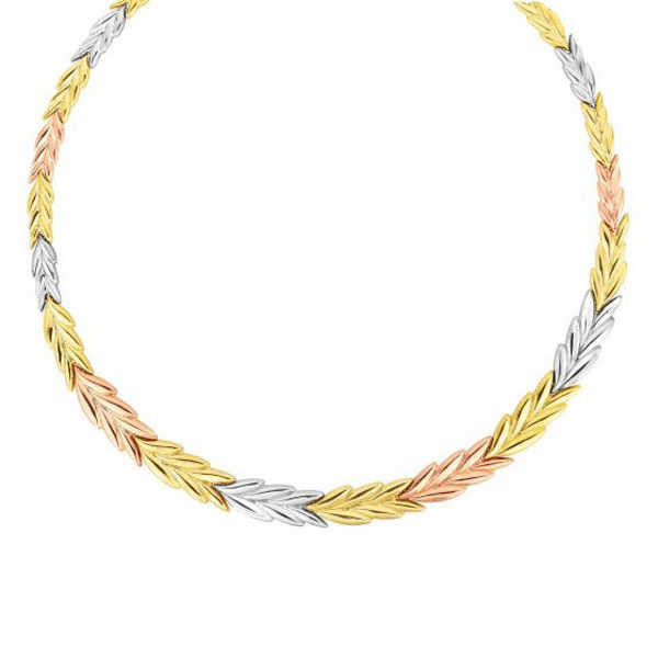 """14kt Gold 17"""" Rose + Yellow + White Shiny Fancy Stampato Necklace"""