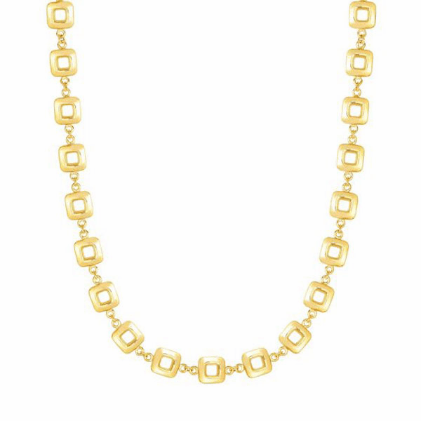 """14kt Gold 17"""" Yellow 9mm Shiny Square Link Necklace with Lobster Clasp"""