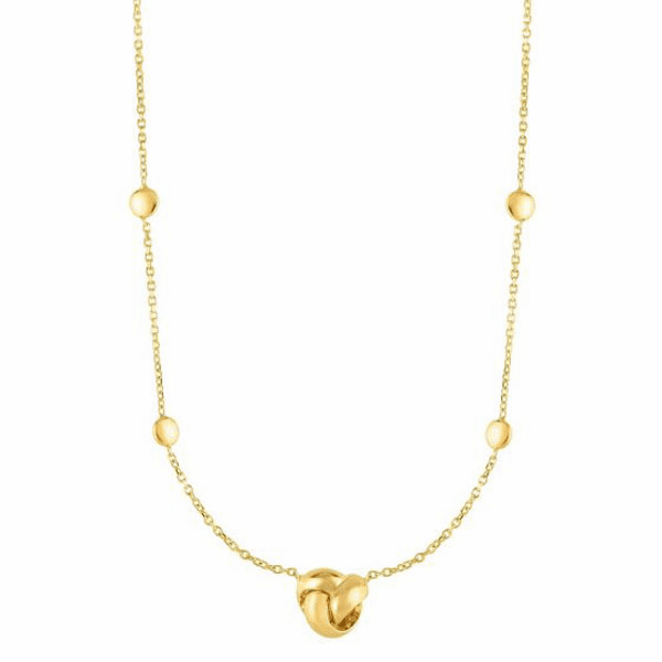 """14kt Gold 17"""" Yellow Finish Loveknot Necklace with Lobster Clasp"""