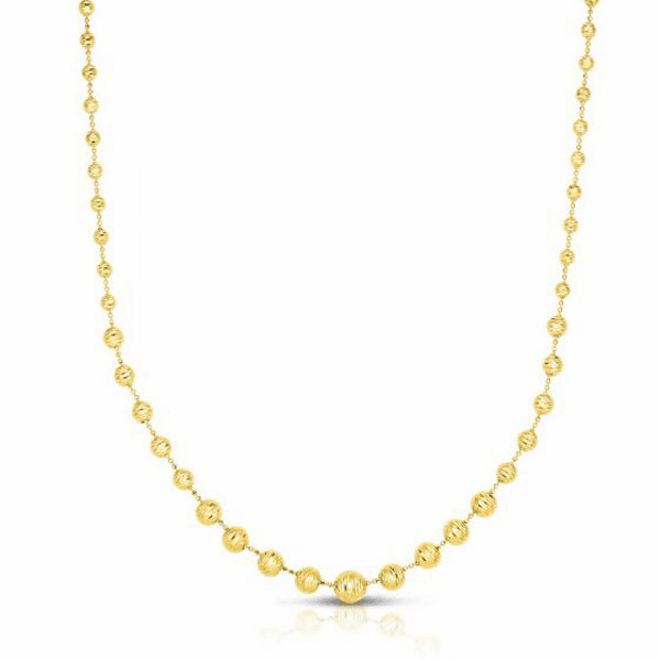 """14kt Gold 17"""" Yellow Graduated Beaded Necklace with Lobster Clasp"""