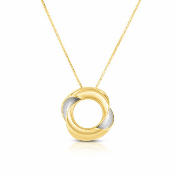 """14kt Gold 17"""" Yellow/Rhodium Finish Shiny Necklace with Lobster Clasp"""
