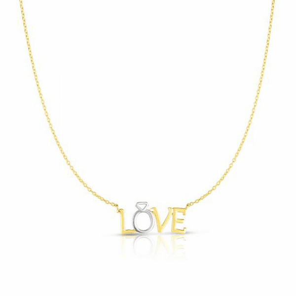 """14kt Gold 17"""" Yellow + White 1.1x10x22mm Shiny Fancy Love Necklace"""
