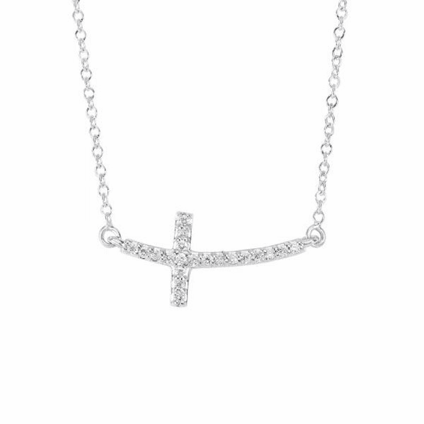 """14kt Gold 18"""" 0.12ct Necklace with Short curved Side way Cross"""