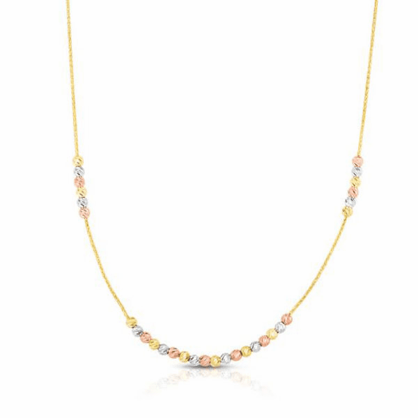 """14kt Gold 18"""" Finish Diamond Cut Necklace with Lobster Clasp"""