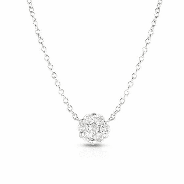 """14kt Gold 18"""" White Necklace with 0.2500ct White Diamond"""