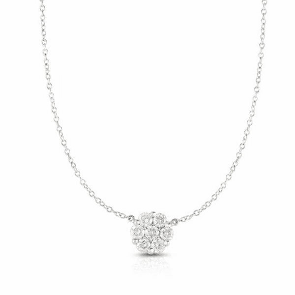 """14kt Gold 18"""" White Necklace with 0.5000ct White Diamond"""