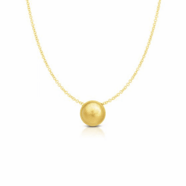 """14kt Gold 18"""" Yellow 1.4-11mm Matt Bead Necklace with Lobster Clasp"""