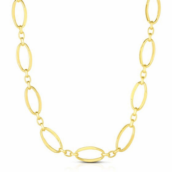 """14kt Gold 18"""" Yellow 10mm Oval Fancy Link Necklace with Lobster Clasp"""