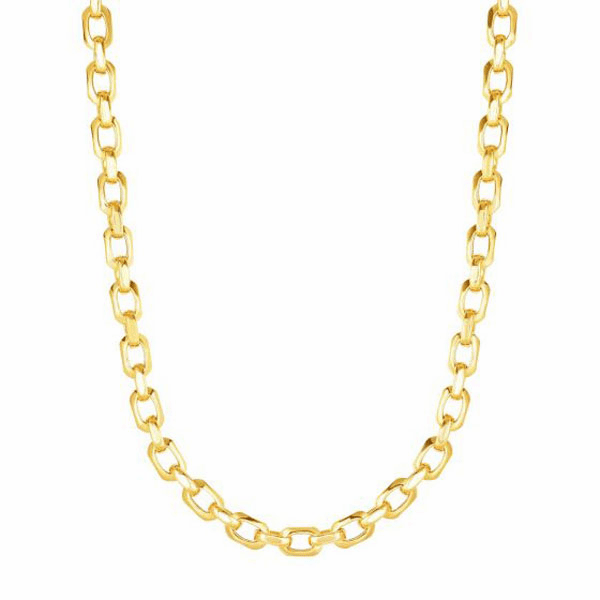 """14kt Gold 18"""" Yellow 6.8mm Oval Fancy Link Necklace with Lobster Clasp"""