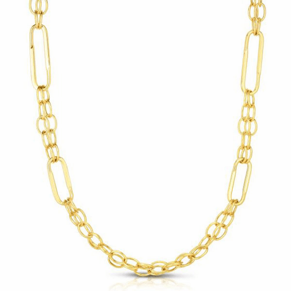"""14kt Gold 18"""" Yellow 8.2mm Oval Fancy Link Necklace with Lobster Clasp"""