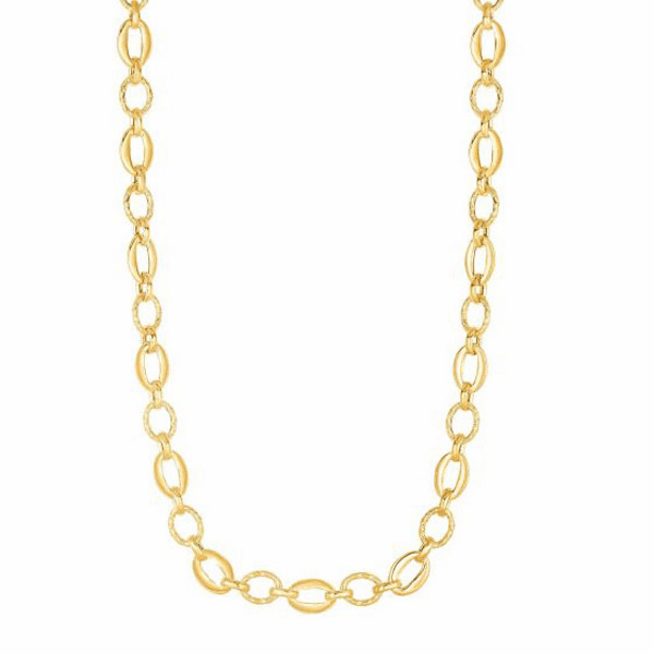 """14kt Gold 18"""" Yellow 8.3mm Shiny + Textured Oval Fancy Link Necklace"""