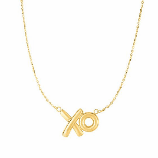 """14kt Gold 18"""" Yellow Chain:1mm + Element-20x13mm  Fancy Necklace"""