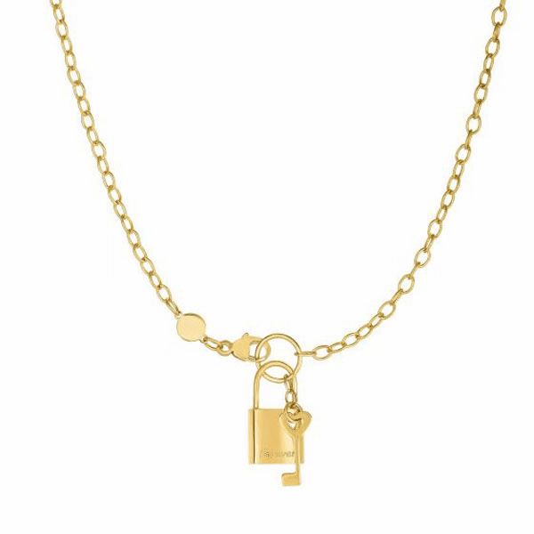 """14kt Gold 18"""" Yellow Chain:3 + Element:9x18mm Shiny Lock+Key Necklace"""