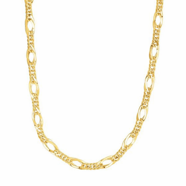 """14kt Gold 18"""" Yellow Finish 7mm Shiny Oval Necklace with Lobster Clasp"""