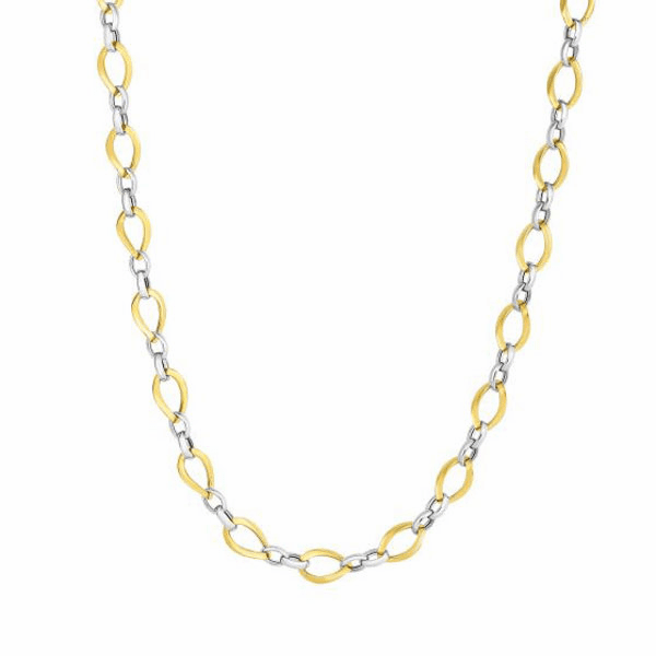 """14kt Gold 18"""" Yellow/White 7.4mm Shiny Twisted Oval Tube Link Necklace"""