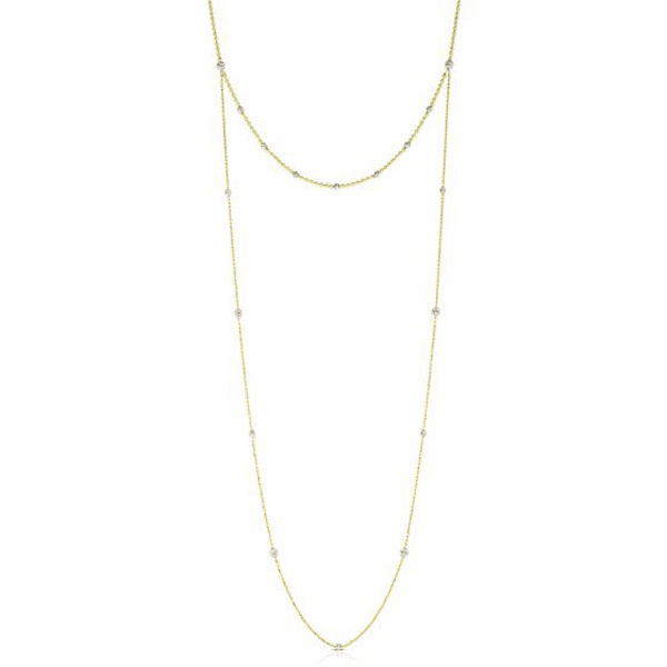 """14kt Gold 32"""" Yellow + White Diamond Cut Necklace with Lobster Clasp"""