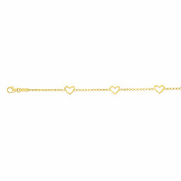 "14kt Gold 6"" Yellow Element, 6x5mm Fancy Stationed Heart Bracelet"