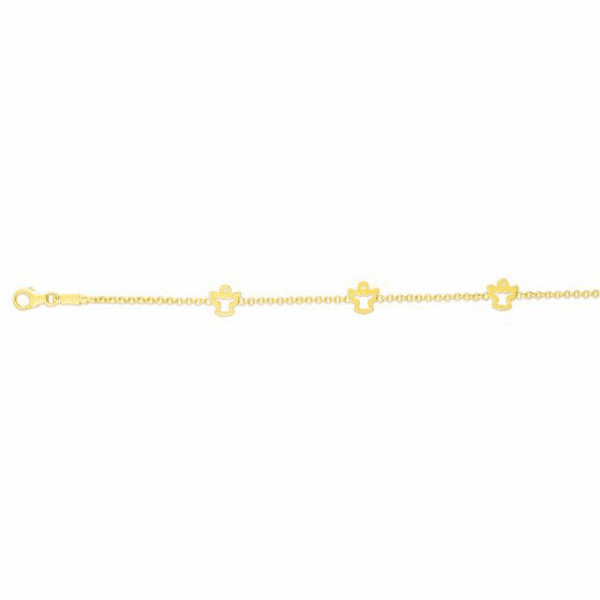 "14kt Gold 6"" Yellow Element, 6x6mm Fancy Stationed Angel Bracelet"