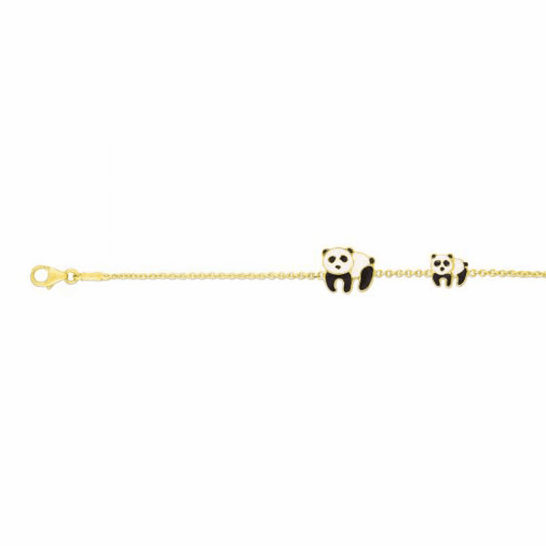 "14kt Gold 6"" Yellow Element 7x6mm Panda Bear Animal Bracelet"