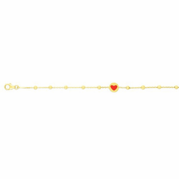 "14kt Gold 6"" Yellow Finish Element:6mm Shiny Heart Fancy Bracelet"