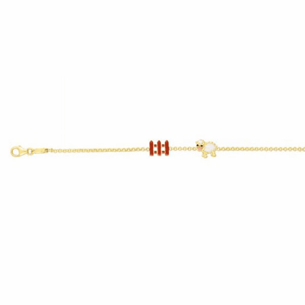 "14kt Gold 6"" Yellow Finish Enamel Bracelet with Lobster Clasp - RC2649"