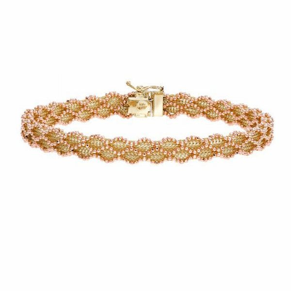 "14kt Gold 7.5"" Rose+Yellow Finish Diamond Cut Bracelet with Box Clasp"
