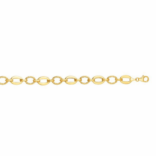 "14kt Gold 7.5"" Yellow 8.3mm Shiny/Textured Oval Fancy Link Bracelet"