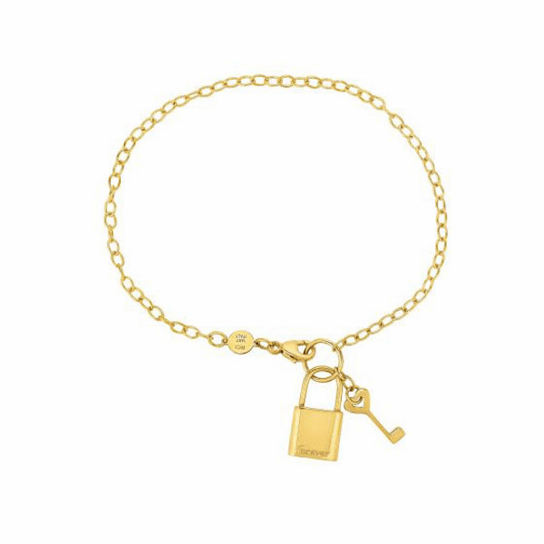 "14kt Gold 7.5"" Yellow Chain:3/Element:9x18mm Shiny Lock/Key Bracelet"