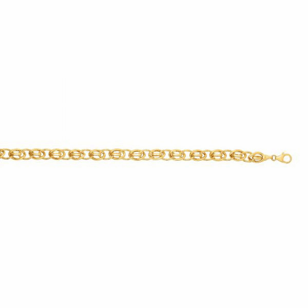 "14kt Gold 7.5"" Yellow Finish 7mm Shiny Oval Fancy Bracelet"