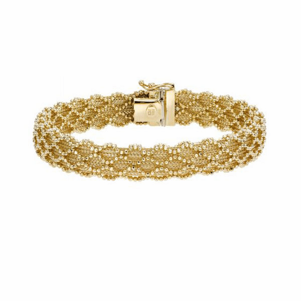 "14kt Gold 7.5"" Yellow Finish Diamond Cut Bracelet with Box Clasp"