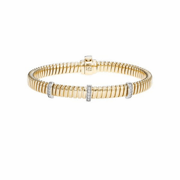 "14kt Gold 7.5"" Yellow/White Bracelet with 0.1500ct 1.3mm White Diamond"
