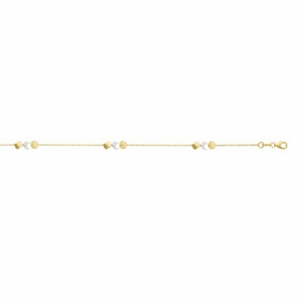 "14kt Gold 7.5"" Yellow/White Finish Bracelet with Lobster Clasp"