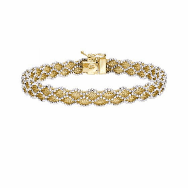 "14kt Gold 7.5"" Yellow+White Finish Diamond Cut Bracelet with Box Clasp"