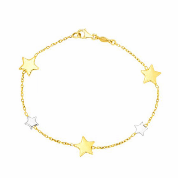 "14kt Gold 7.5"" Yellow/White Rhodium 9.6mm Star Star Stationed Bracelet"