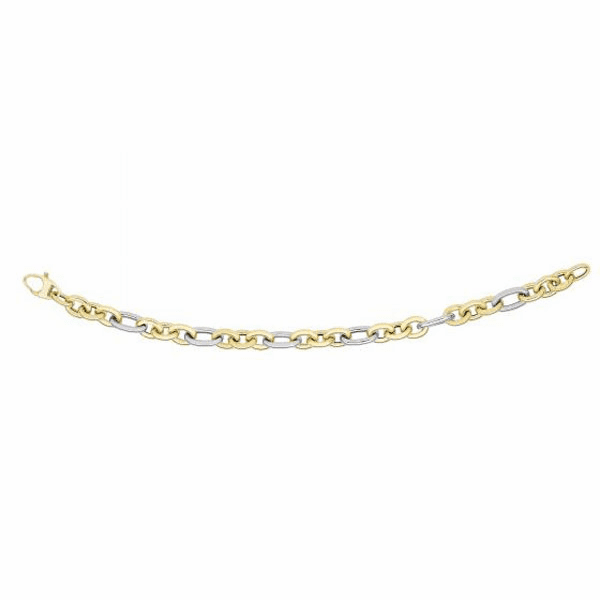 14kt Gold 7.5mm 3 Short Yellow & 1 Long White Oval Link Fancy Bracelet