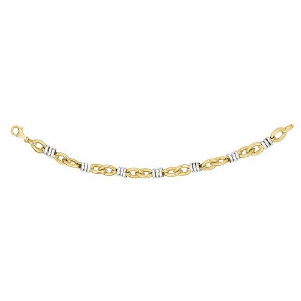 """14kt Gold 7.75"""" Round White Rings On Yellow Marquis Link Bracelet"""