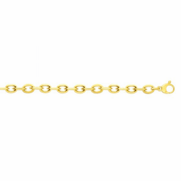 "14kt Gold 7.75"" Yellow Finish 9.3mm Oval Bracelet with Lobster Clasp"