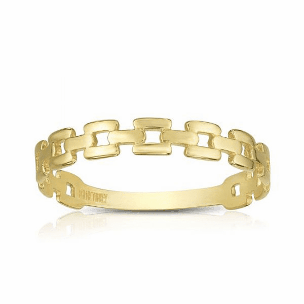 """14kt Gold 7"""" Yellow Finish 1.5-3mm Shiny Fancy Link Ring"""