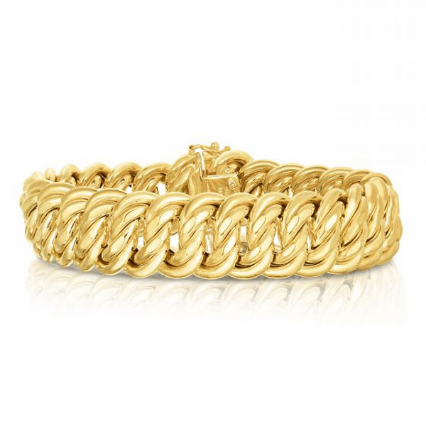 "14kt Gold 8.25"" Yellow Finish 18mm Bracelet with Box Clasp"