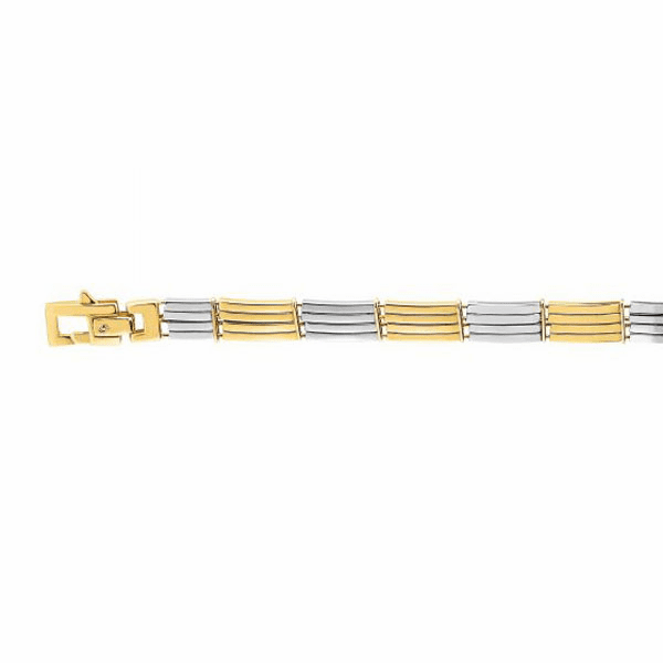 "14kt Gold 8.25"" Yellow/White Finish 8mm Bracelet with Lobster Clasp"